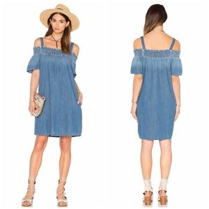CURRENT ELLIOT • off the shoulder chambray dress